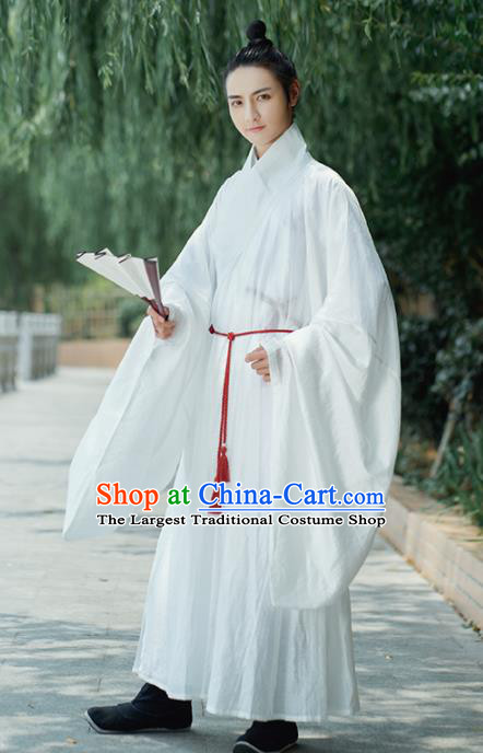 Traditional Chinese Ming Dynasty Scholar White Robe Ancient Drama Taoist Priest Replica Costumes for Men