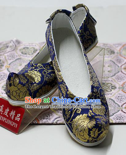 Traditional Chinese Royalblue Blood Stained Shoes Handmade Hanfu Shoes Ancient Princess Shoes for Women