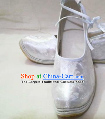 Traditional Chinese Wedding White Satin Shoes Handmade Hanfu Shoes Ancient Princess Shoes for Women