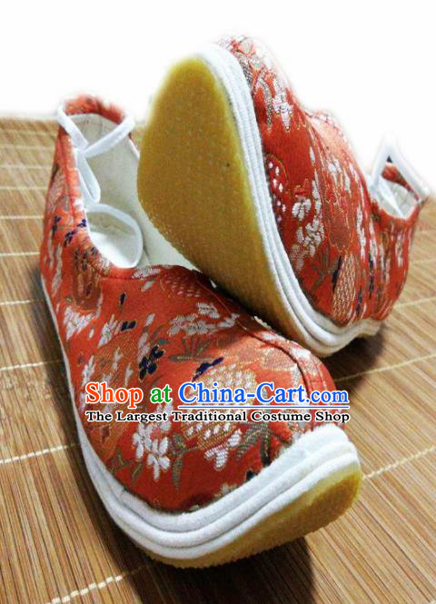 Traditional Chinese Wedding Red Satin Shoes Handmade Hanfu Shoes Ancient Princess Shoes for Women