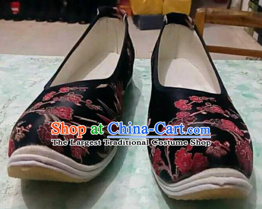Traditional Chinese Wedding Black Satin Shoes Handmade Hanfu Shoes Ancient Princess Shoes for Women