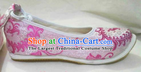 Traditional Chinese Wedding Pink Satin Shoes Handmade Hanfu Shoes Ancient Princess Shoes for Women