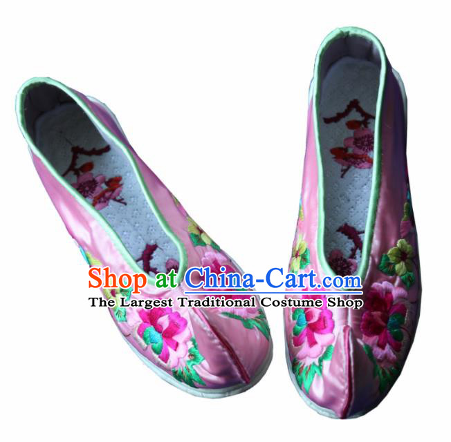 Traditional Chinese Embroidered Peony Pink Shoes Handmade Hanfu Shoes Ancient Princess Satin Shoes for Women