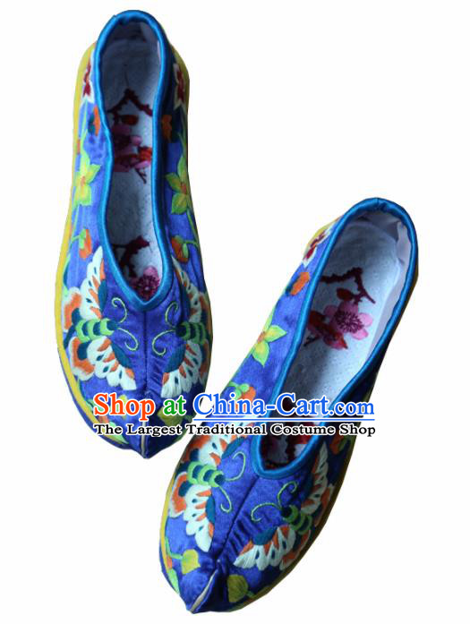 Traditional Chinese Embroidered Butterfly Royalblue Shoes Handmade Hanfu Shoes Ancient Princess Satin Shoes for Women