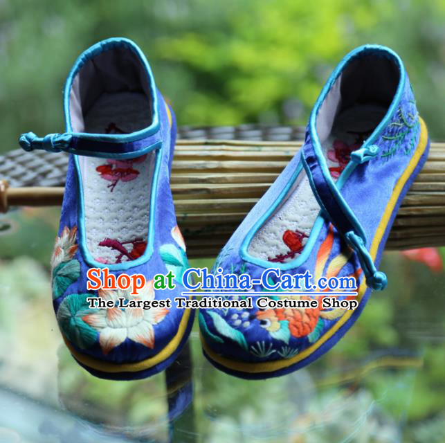 Traditional Chinese Embroidered Lotus Royalblue Shoes Handmade Hanfu Shoes Ancient Princess Satin Shoes for Women
