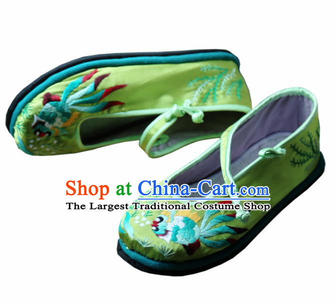 Traditional Chinese Embroidered Lotus Green Shoes Handmade Hanfu Shoes Ancient Princess Satin Shoes for Women
