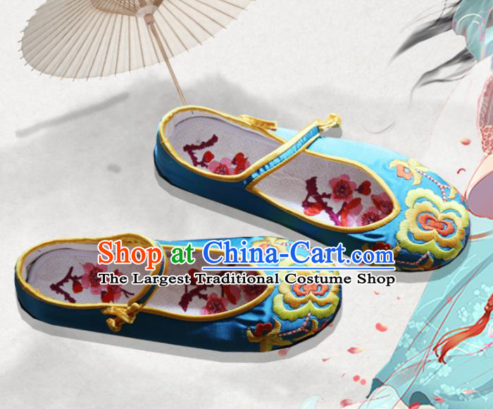 Traditional Chinese Blue Embroidered Shoes Handmade Hanfu Shoes Ancient Princess Shoes for Women