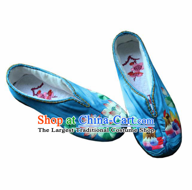 Traditional Chinese Embroidered Lotus Blue Shoes Handmade Hanfu Shoes Ancient Princess Shoes for Women