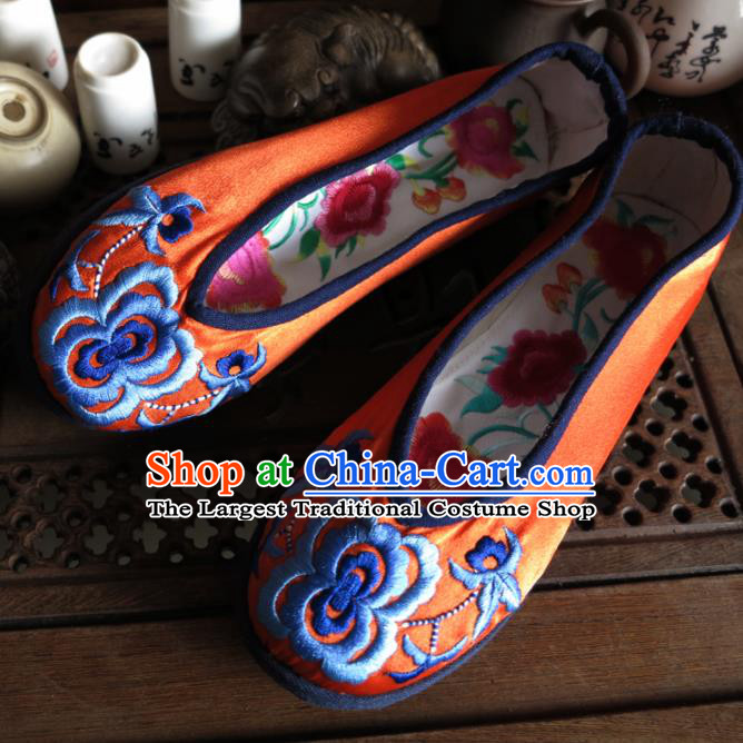 Traditional Chinese Orange Embroidered Shoes Handmade Hanfu Shoes Ancient Princess Shoes for Women