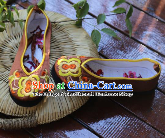 Traditional Chinese Brown Embroidered Shoes Handmade Hanfu Shoes Ancient Princess Shoes for Women