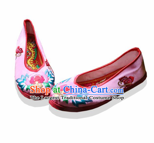 Traditional Chinese Pink Embroidered Shoes Handmade Hanfu Shoes Ancient Princess Shoes for Women