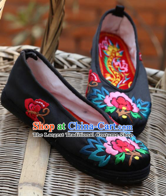 Traditional Chinese Black Embroidered Shoes Handmade Hanfu Shoes Ancient Princess Shoes for Women