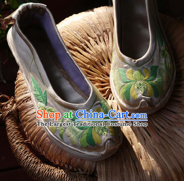 Traditional Chinese Embroidered Green Lotus Shoes Handmade Hanfu Shoes Ancient Princess Shoes for Women