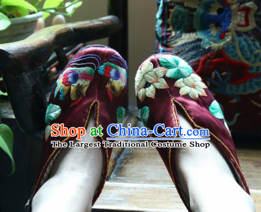 Traditional Chinese Embroidered Lotus Purplish Red Shoes Handmade Hanfu Shoes Ancient Princess Shoes for Women