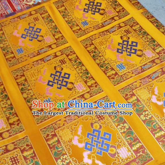 Asian Chinese Traditional Buddhism Lucky Pattern Design Golden Brocade Fabric Tibetan Robe Silk Material