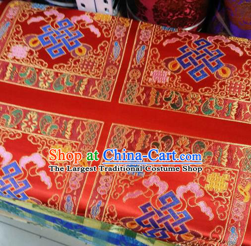 Asian Chinese Traditional Buddhism Lucky Pattern Design Red Brocade Fabric Tibetan Robe Silk Material