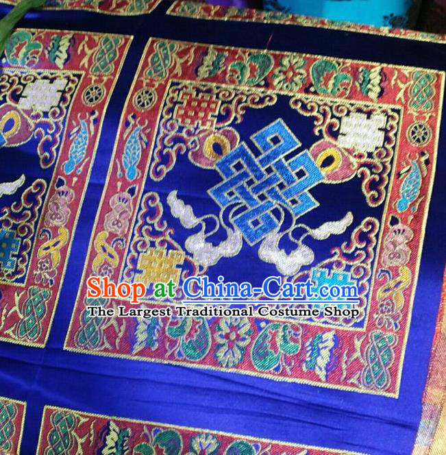 Asian Chinese Traditional Buddhism Lucky Pattern Design Royalblue Brocade Fabric Tibetan Robe Silk Material