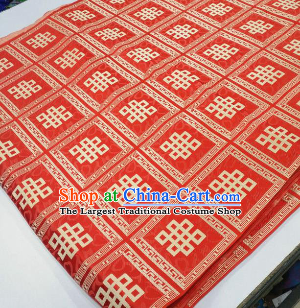 Asian Chinese Traditional Buddhism Lucky Knots Pattern Design Red Brocade Fabric Tibetan Robe Silk Material