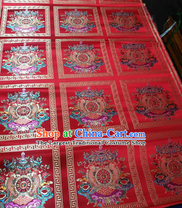 Asian Chinese Traditional Buddhism Implement Pattern Design Red Brocade Fabric Tibetan Robe Silk Material