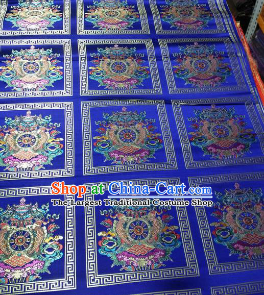 Asian Chinese Traditional Buddhism Implement Pattern Design Royalblue Brocade Fabric Tibetan Robe Silk Material