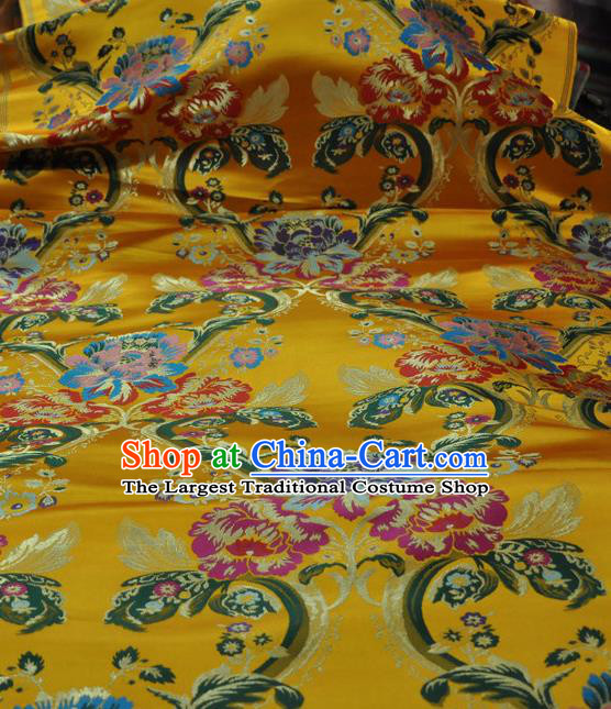 Asian Chinese Traditional Buddhism Peony Pattern Design Yellow Brocade Fabric Tibetan Robe Silk Material