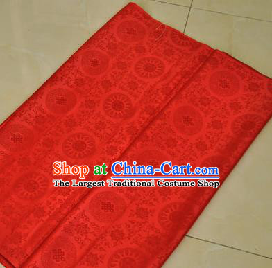 Asian Chinese Buddhism Traditional Lucky Pattern Design Red Brocade Fabric Tibetan Robe Silk Material