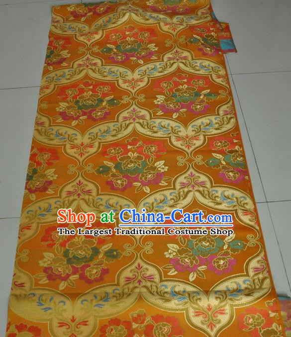Asian Chinese Buddhism Traditional Peony Pattern Design Golden Brocade Fabric Tibetan Robe Silk Material