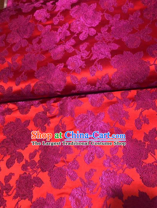 Asian Chinese Traditional Peony Pattern Design Rosy Brocade Fabric Cheongsam Silk Material