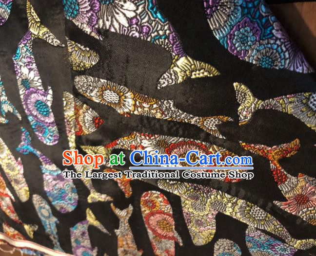 Asian Chinese Traditional Whale Pattern Design Black Brocade Fabric Cheongsam Silk Material