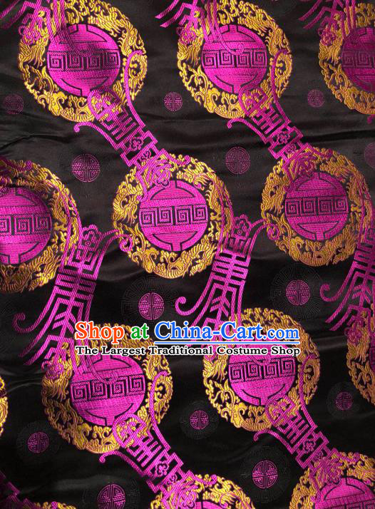 Asian Chinese Traditional Pattern Design Black Brocade Fabric Cheongsam Silk Material