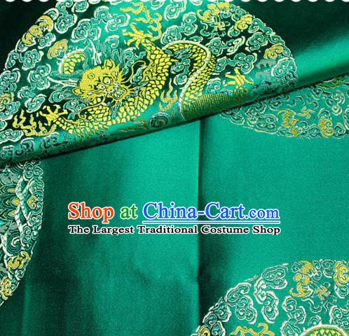 Asian Chinese Traditional Round Dragon Pattern Design Green Brocade Fabric Cheongsam Silk Material