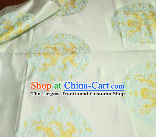 Asian Chinese Traditional Round Dragon Pattern Design Beige Brocade Fabric Cheongsam Silk Material