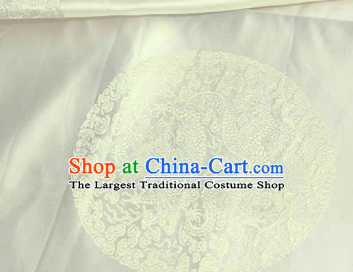 Asian Chinese Traditional Round Dragon Pattern Design White Brocade Fabric Cheongsam Silk Material