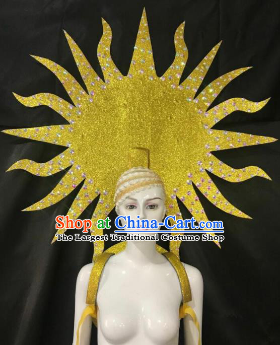 Customized Halloween Samba Dance Props Brazil Parade Golden Wings Backboard and Headpiece for Women