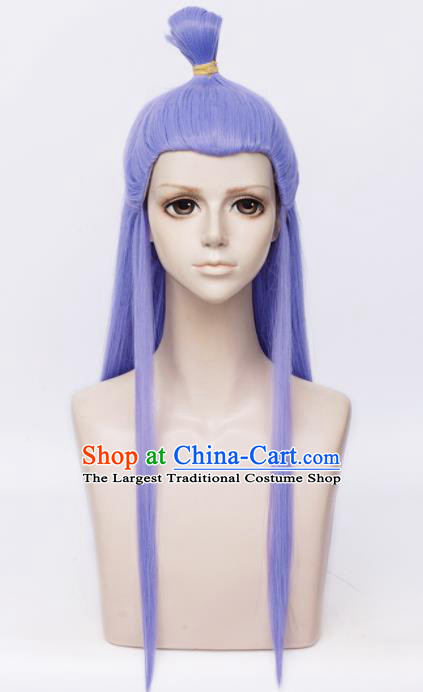 Customized Chinese Cosplay Wigs Drama Ne Zha Hair Accessories Purple Wig Sheath