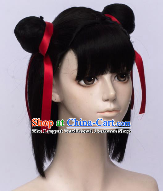 Customized Chinese Cosplay Black Wigs Drama Ne Zha Hair Accessories Wig Sheath