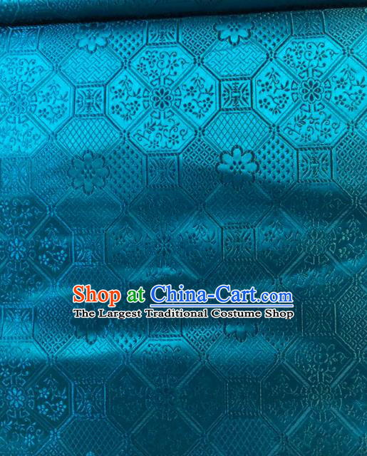Asian Chinese Traditional Galsang Flower Pattern Design Blue Brocade Fabric Cheongsam Silk Material