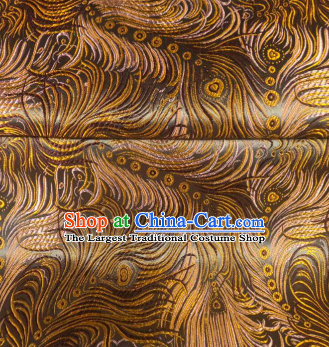 Asian Chinese Traditional Feather Pattern Design Brown Brocade Fabric Cheongsam Silk Material
