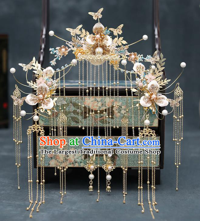 Top Chinese Traditional Golden Butterfly Tassel Phoenix Coronet Wedding Bride Handmade Hairpins Hair Accessories Complete Set