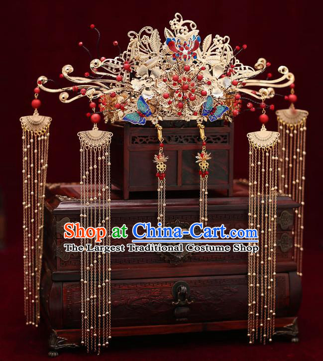 Top Chinese Traditional Blueing Butterfly Phoenix Coronet Wedding Bride Handmade Hairpins Hair Accessories Complete Set