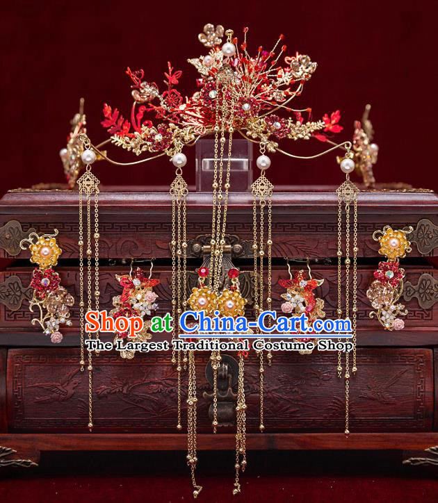 Top Chinese Traditional Bride Red Flowers Hair Crown Handmade Wedding Tassel Hairpins Hair Accessories Complete Set