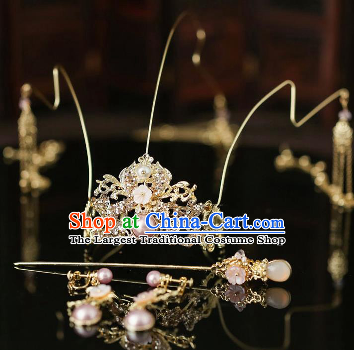 Top Chinese Traditional Bride Golden Dragonfly Hair Crown Handmade Wedding Tassel Hairpins Hair Accessories Complete Set