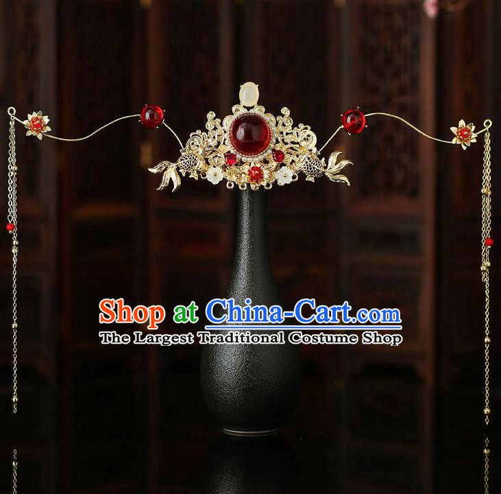 Top Chinese Traditional Bride Garnet Hair Crown Handmade Wedding Tassel Hairpins Hair Accessories Complete Set