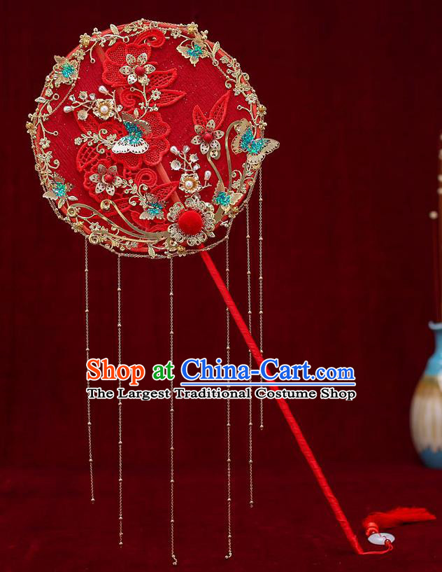 Chinese Traditional Wedding Long Handle Red Round Fan Ancient Bride Palace Fans for Women