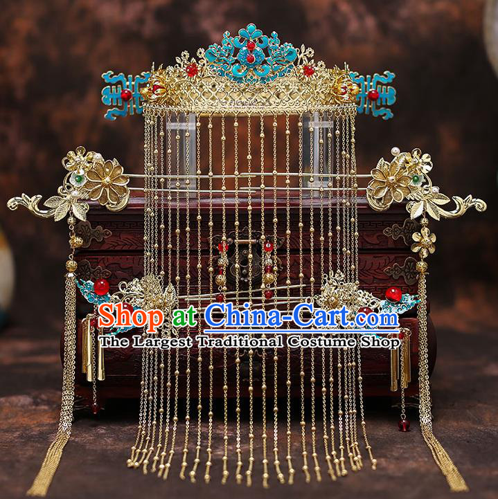 Top Chinese Traditional Court Bride Cloisonne Phoenix Coronet Handmade Wedding Tassel Hairpins Hair Accessories Complete Set