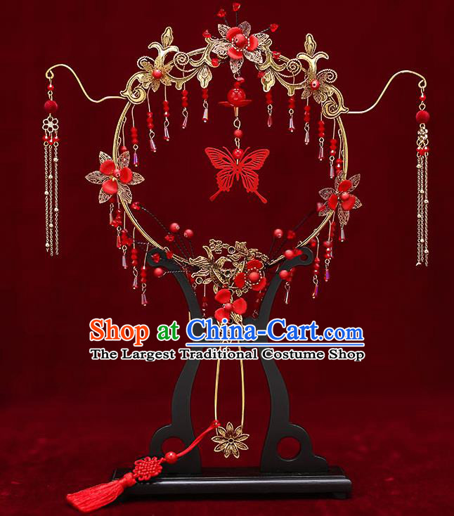 Chinese Traditional Wedding Red Butterfly Tassel Round Fan Ancient Bride Palace Fans for Women
