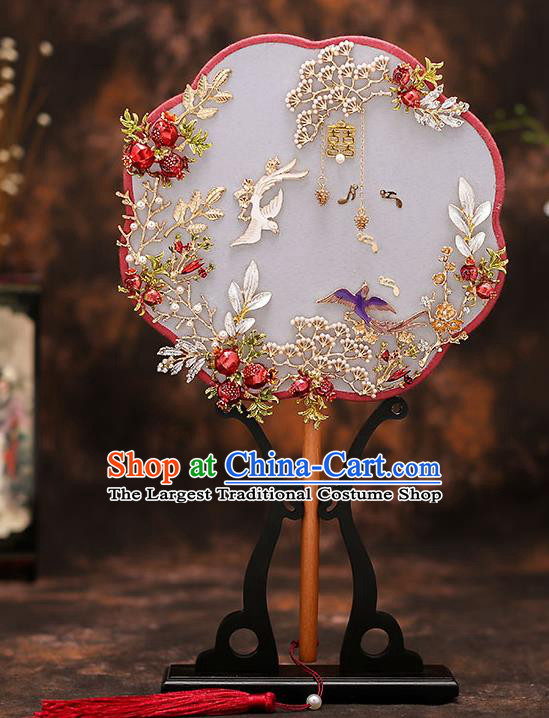 Chinese Traditional Wedding Prop Silk Fan Ancient Bride Palace Fans for Women