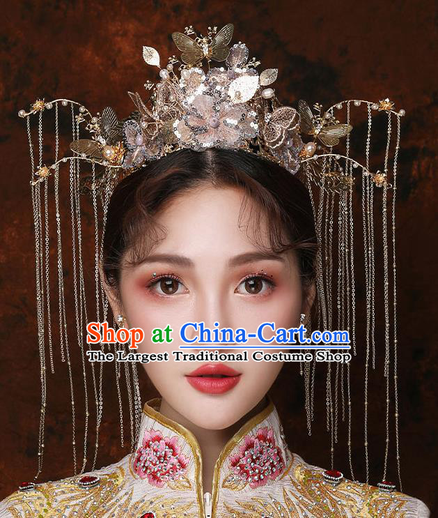 Top Chinese Traditional Bride Golden Hair Crown Handmade Hairpins Wedding Hair Accessories Complete Set