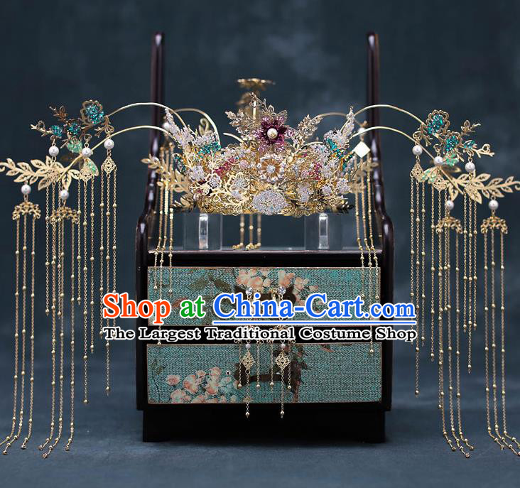 Top Chinese Traditional Bride Tassel Phoenix Coronet Handmade Wedding Tassel Hairpins Hair Accessories Complete Set