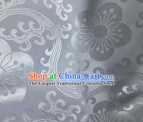 Asian Chinese Traditional Plum Pattern Design Grey Brocade China Hanfu Satin Fabric Material